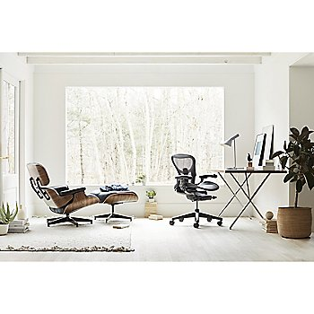 Ottoman with Eames Lounge Chair, Nelson X-Leg Table and Aeron Office Chair