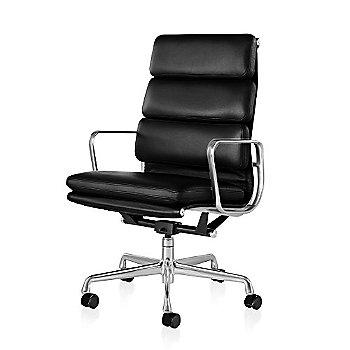 Polished Aluminum Base/ Polished Aluminum Frame finish / 2in Double Wheel Casters/ Carpet/ Black Painted / 2100 Leather: Black