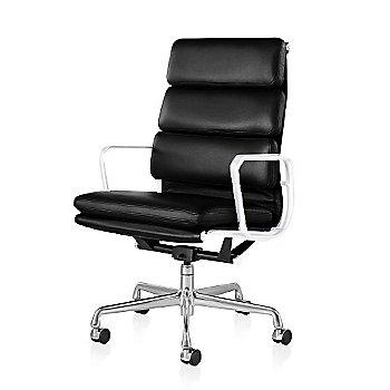 Polished Aluminum Base/ White Frame finish / 2-In. Hard Double Wheel Casters, Carpet, Chrome / 2100 Leather: Black