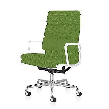 Polished Aluminum Base/ White Frame finish / 2-In. Hard Double Wheel Casters, Carpet, Chrome / Messenger: Neon