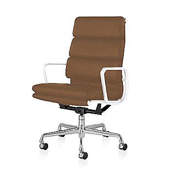 Polished Aluminum Base/ White Frame finish / 2-In. Hard Double Wheel Casters, Carpet, Chrome / 2100 Leather: Copper