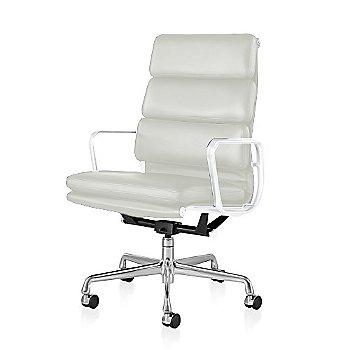 Polished Aluminum Base/ White Frame finish / 2-In. Hard Double Wheel Casters, Carpet, Chrome / 2100 Leather: Ivory