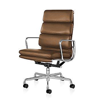 Polished Aluminum Base/ Polished Aluminum Frame finish / 2in Double Wheel Casters/ Carpet/ Black Painted / 2100 Leather: Copper