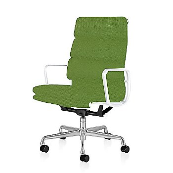Polished Aluminum Base/ White Frame finish / 2in Double Wheel Casters/ Carpet/ Black Painted / Messenger: Neon