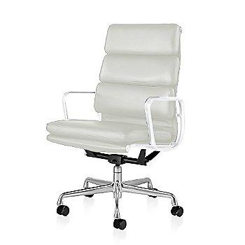 Polished Aluminum Base/ White Frame finish / 2in Double Wheel Casters/ Carpet/ Black Painted / 2100 Leather: Ivory