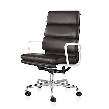 Polished Aluminum Base/ White Frame finish / 2in Double Wheel Casters/ Carpet/ Black Painted / MCL Leather Espresso