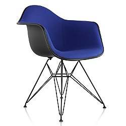 Eames Molded Plastic Armchair with Wire Base, Upholstered