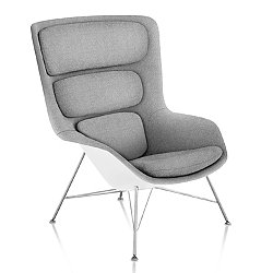Striad High Back Lounge Chair, Wire Base