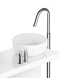 Floor-Mounted Sink Faucet With Two Levers and Pop-Up Drain CB220 Stainless Steel