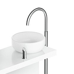Floor-Mounted Sink Faucet With Single Lever and Pop-Up Drain CB217 Stainless Steel