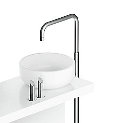 Floor Mounted Sink Faucet with SQ Spout Stainless Steel