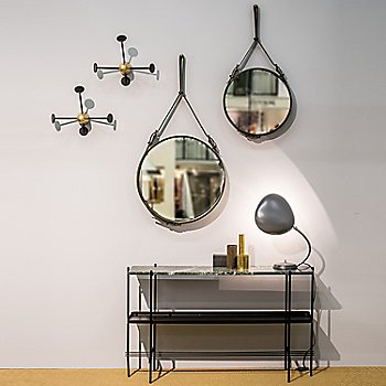 Adnet Circulaire Mirror with Mategot Coat Rack / Cobra Table Lamp and TS Console Table 2-Rack