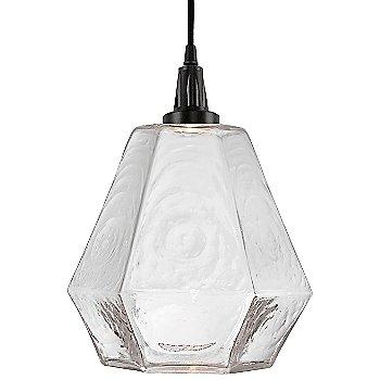 Clear glass shade / Matte Black finish, illuminated