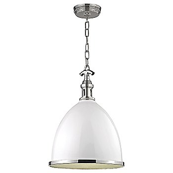 Shown in White with Polished Nickel finish, Large size
