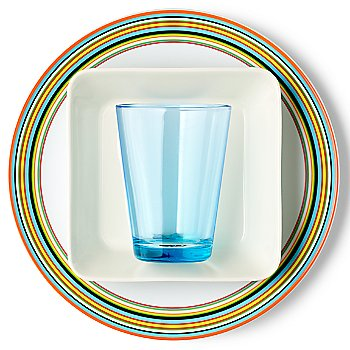 Teema Square Plate with iittala Kartio Large Tumblers and iittala Origo Orange Dinner Plate