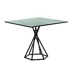 BB Square Table with Hex Base, Stone