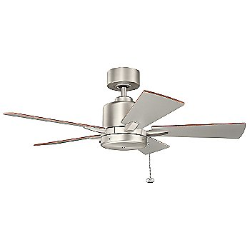 Shown in Brushed Nickel with Walnut and Silver blades, 42 inch size
