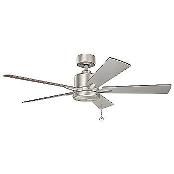 Shown in Brushed Nickel with Walnut and Silver blades, 52 inch size