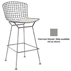 Bertoia Barstool with Seat Cushion (Common Ground: Slate/Polished Chrome with Seat Cushion/Bar) - OPEN BOX