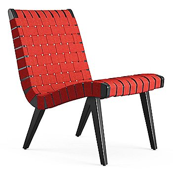 Shown in Red Cotton Webbing fabric with Ebonized Maple frame finish
