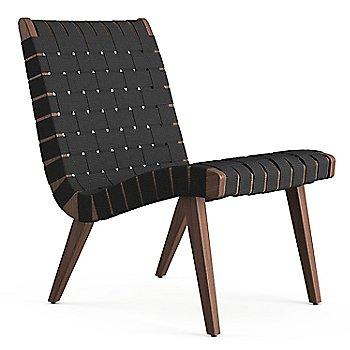 Shown in Black Cotton Webbing fabric with Light Walnut frame finish