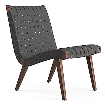 Shown in Dark Grey Cotton Webbing fabric with Light Walnut frame finish