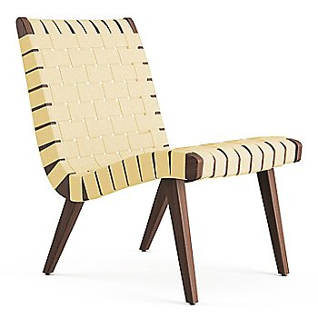 Shown in Maize Cotton Webbing fabric with Light Walnut frame finish