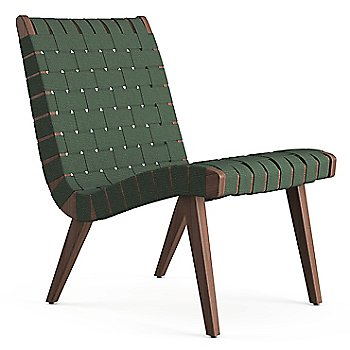 Shown in Forest Green Cotton Webbing fabric with Light Walnut frame finish