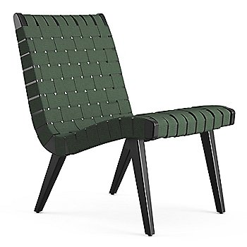Shown in Forest Green Cotton Webbing fabric with Ebonized Maple frame finish