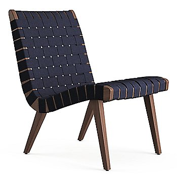 Shown in Navy Cotton Webbing fabric with Light Walnut frame finish
