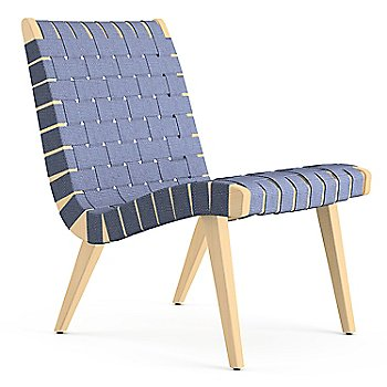 Shown in Steel Blue Cotton Webbing fabric with Maple frame finish