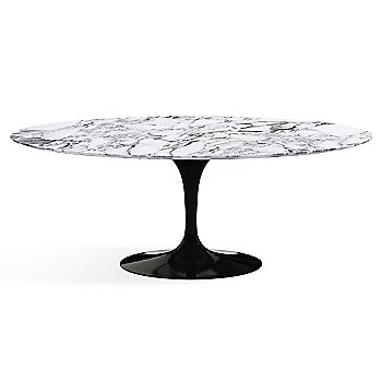 Shown in Arabescato White-Grey Satin Coated Marble finish with Black base finish,  78-Inch