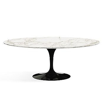Shown in Calacatta White-Grey Beige Satin Coated Marble finish with Black base finish, 78-Inch