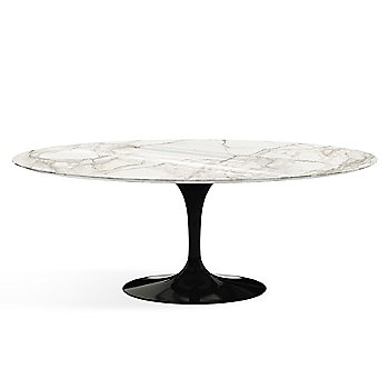 Shown in Calacatta White-Grey Beige Shiny Coated Marble finish with Black base finish, 78-Inch