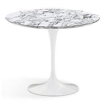 Arabescato White-Grey Satin Coated Marble Top with White Base / 36 Inch
