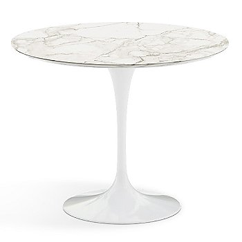 Calacatta White-Grey Beige Satin Coated Marble Top finish with White Base / 36 Inch