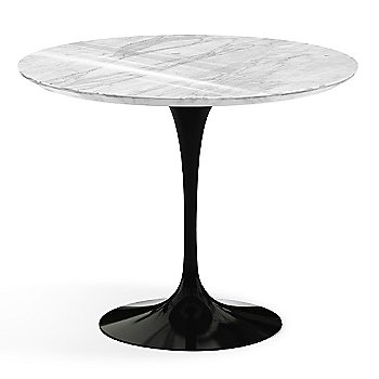 Carrara White-Grey Polished Coated Marble Top finish with Black Base / 36 Inch