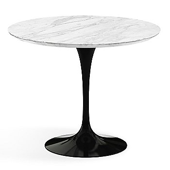 Shown in Carrara White-Grey Satin Coated Marble Top with Black Base, 36 Inch