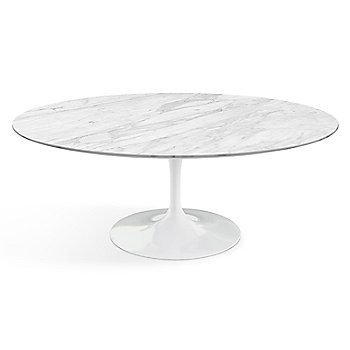 Shown in Carrara White-Grey Satin Coated Marble top finish with White base