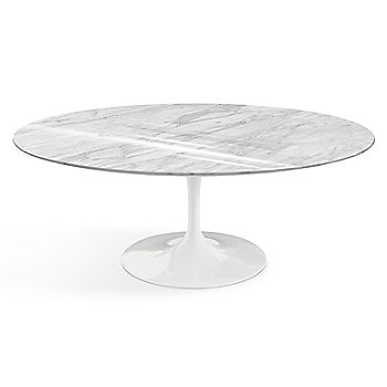 Shown in Carrara White-Grey Shiny Coated Marble top finish with White base