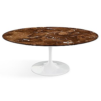 Shown in Espresso Brown Satin Coated Marble top finish with White base