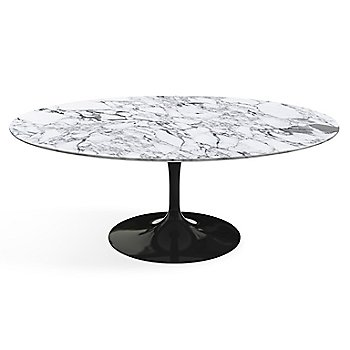 Shown in Arabescato White-Grey Satin Coated Marble top finish with Black base