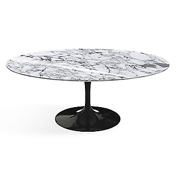 Shown in Arabescato White-Grey Shiny Coated Marble top finish with Black base