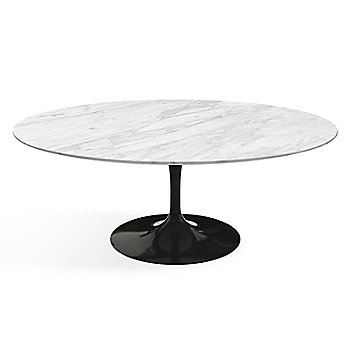 Shown in Carrara White-Grey Satin Coated Marble top finish with Black base