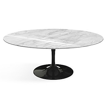 Shown in Carrara White-Grey Shiny Coated Marble top finish with Black base