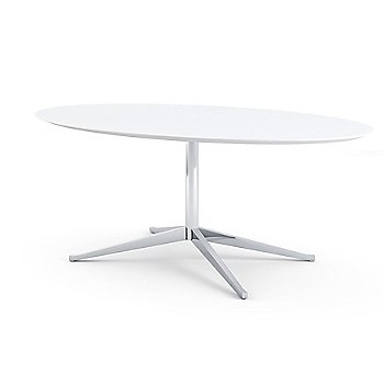 Shown in Satin Carrara White-Grey Coated Marble top with Polished Chrome base finish, 78-Inch