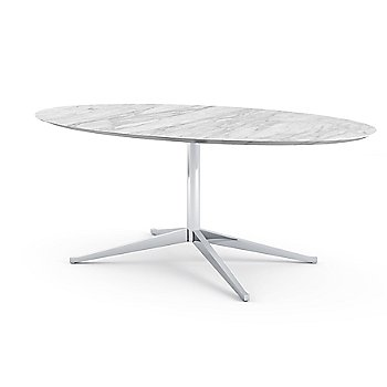 Shown in Satin Arabescato White-Grey Coated Marble top with Polished Chrome base finish, 78-Inch
