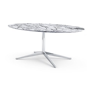 Shown in Calacatta White-Grey Beige Coated Marble top with Polished Chrome base finish, 78-Inch