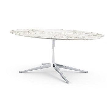Shown in Grigio Marquina Coated Marble top with Polished Chrome base finish, 78-Inch