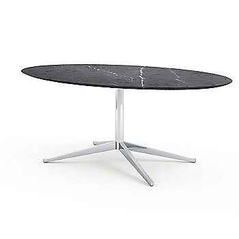 Shown in Nero Marquina Black Coated Marble top with Polished Chrome base finish, 78-Inch